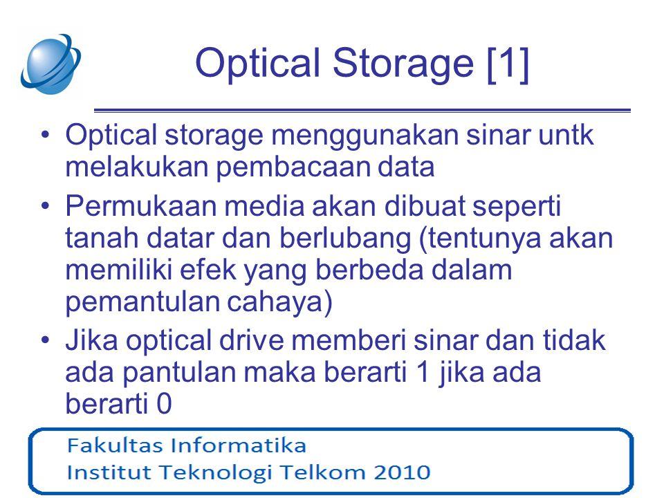 Optical Storage [2] •Bahan lapisan yang dipakai pada umumnya aluminium dilapisi dengan lapisan film atau lacquer (untuk mencegah aluminium beroksidasi) •Pada umumnya proses pembacaan mengunakan sinar infra merah