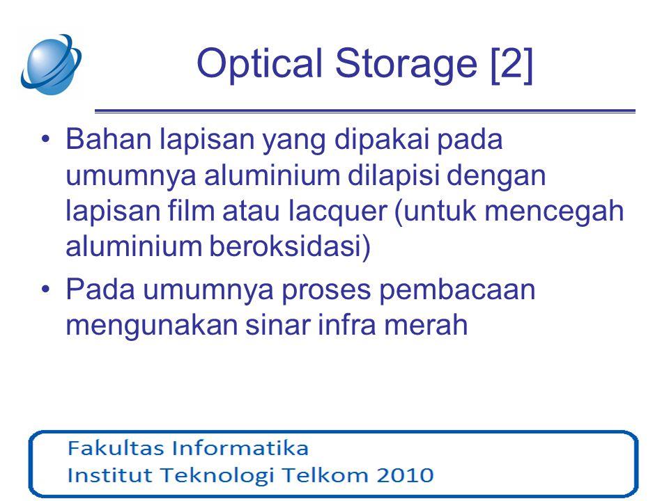 Optical Storage [2] •Bahan lapisan yang dipakai pada umumnya aluminium dilapisi dengan lapisan film atau lacquer (untuk mencegah aluminium beroksidasi