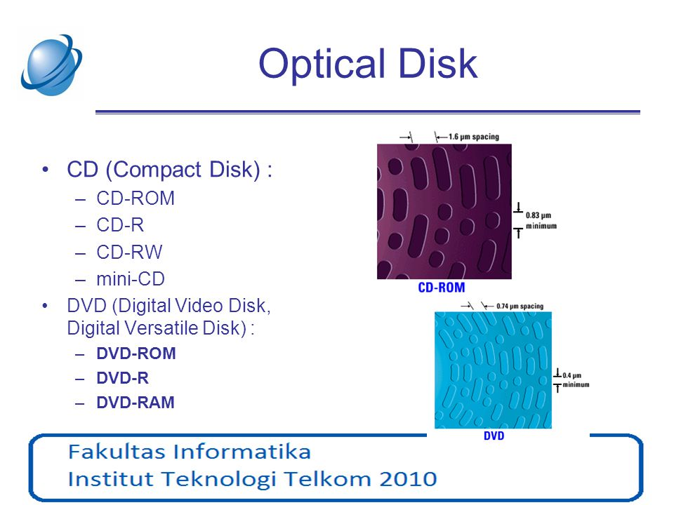 CD •Format: CD-Audio, CD-ROM (ISO), VCD, SVCD, CD-I,..