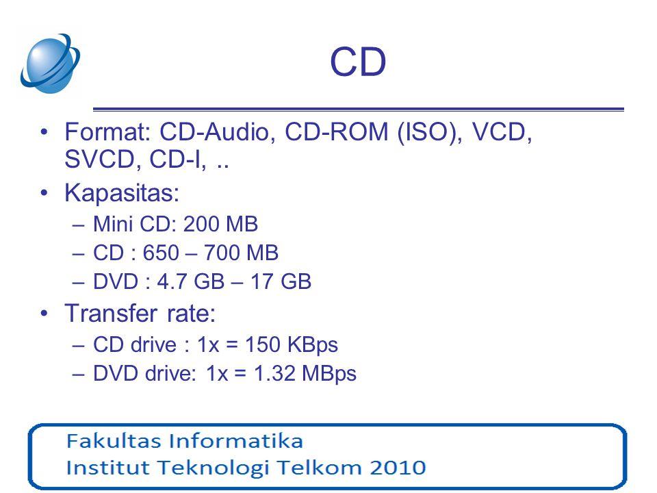CD •Format: CD-Audio, CD-ROM (ISO), VCD, SVCD, CD-I,.. •Kapasitas: –Mini CD: 200 MB –CD : 650 – 700 MB –DVD : 4.7 GB – 17 GB •Transfer rate: –CD drive