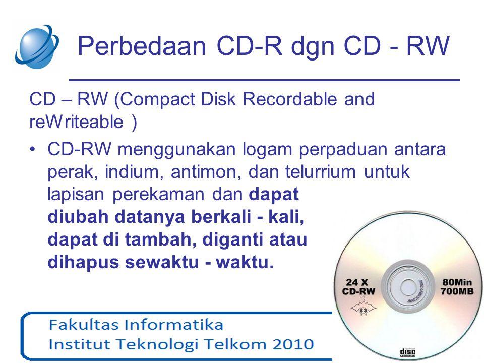 Perbedaan CD-R dgn CD - RW CD – RW (Compact Disk Recordable and reWriteable ) •CD-RW menggunakan logam perpaduan antara perak, indium, antimon, dan te