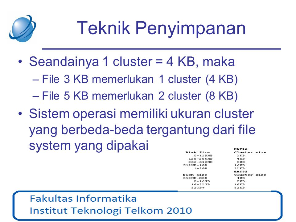 Teknik Penyimpanan •Seandainya 1 cluster = 4 KB, maka –File 3 KB memerlukan 1 cluster (4 KB) –File 5 KB memerlukan 2 cluster (8 KB) •Sistem operasi me