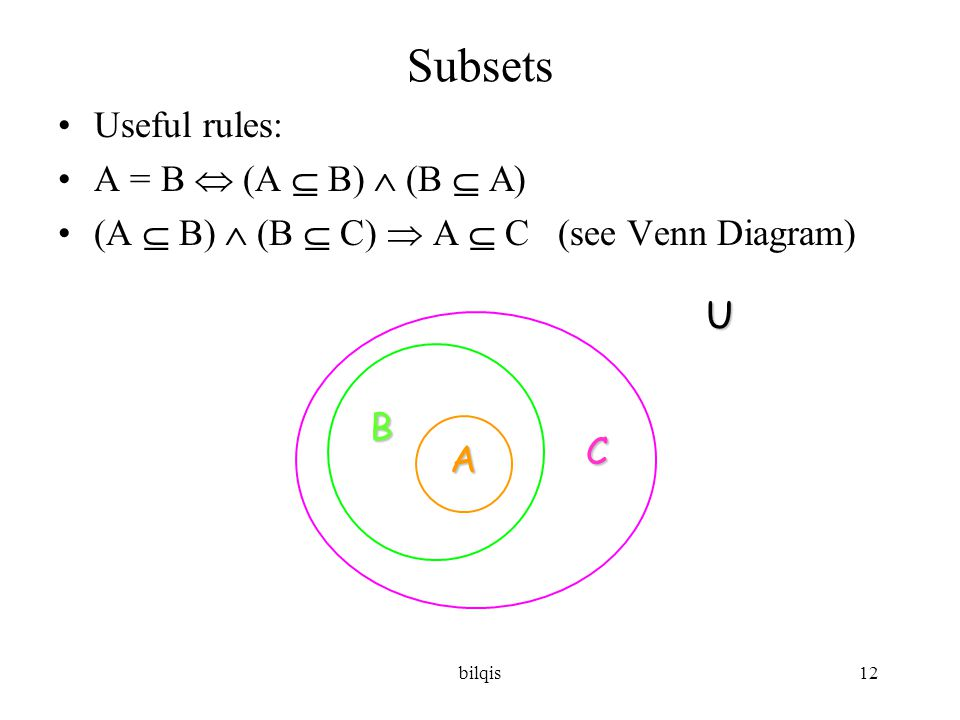 bilqis12 Subsets •Useful rules: •A = B  (A  B)  (B  A) •(A  B)  (B  C)  A  C (see Venn Diagram) U A B C