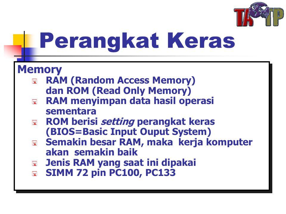 Perangkat Keras Memory  RAM (Random Access Memory) dan ROM (Read Only Memory)  RAM menyimpan data hasil operasi sementara  ROM berisi setting perangkat keras (BIOS=Basic Input Ouput System)  Semakin besar RAM, maka kerja komputer akan semakin baik  Jenis RAM yang saat ini dipakai  SIMM 72 pin PC100, PC133 Memory  RAM (Random Access Memory) dan ROM (Read Only Memory)  RAM menyimpan data hasil operasi sementara  ROM berisi setting perangkat keras (BIOS=Basic Input Ouput System)  Semakin besar RAM, maka kerja komputer akan semakin baik  Jenis RAM yang saat ini dipakai  SIMM 72 pin PC100, PC133