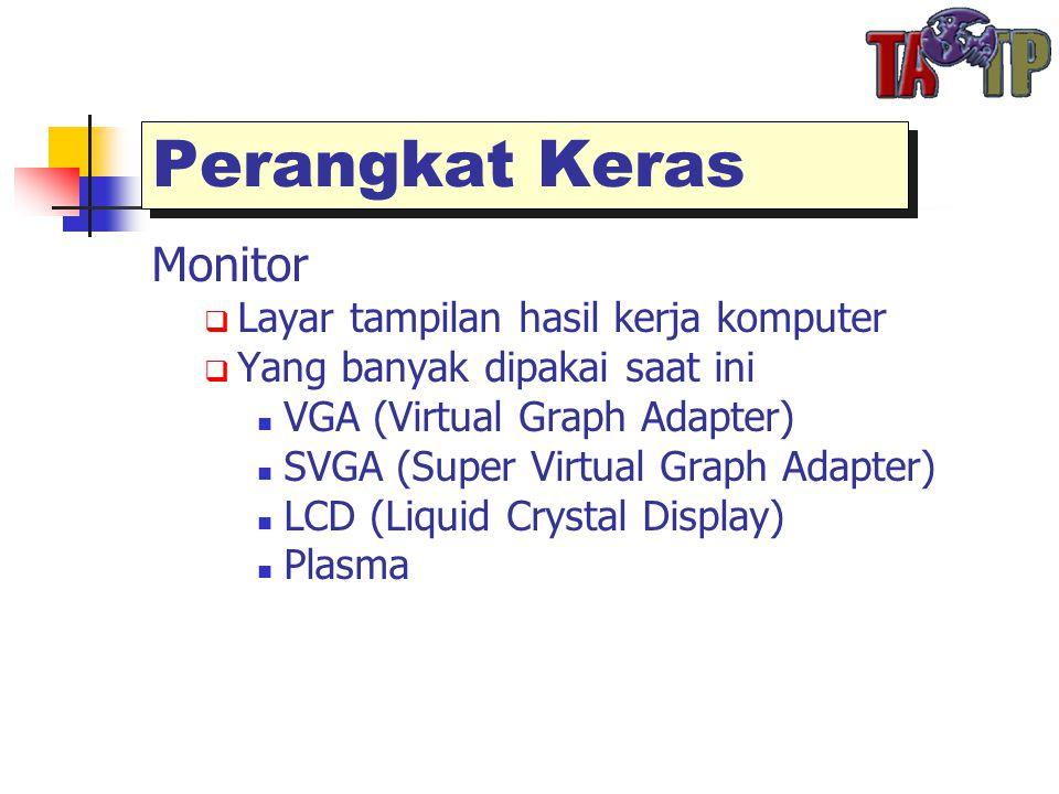 Perangkat Keras Monitor  Layar tampilan hasil kerja komputer  Yang banyak dipakai saat ini  VGA (Virtual Graph Adapter)  SVGA (Super Virtual Graph Adapter)  LCD (Liquid Crystal Display)  Plasma