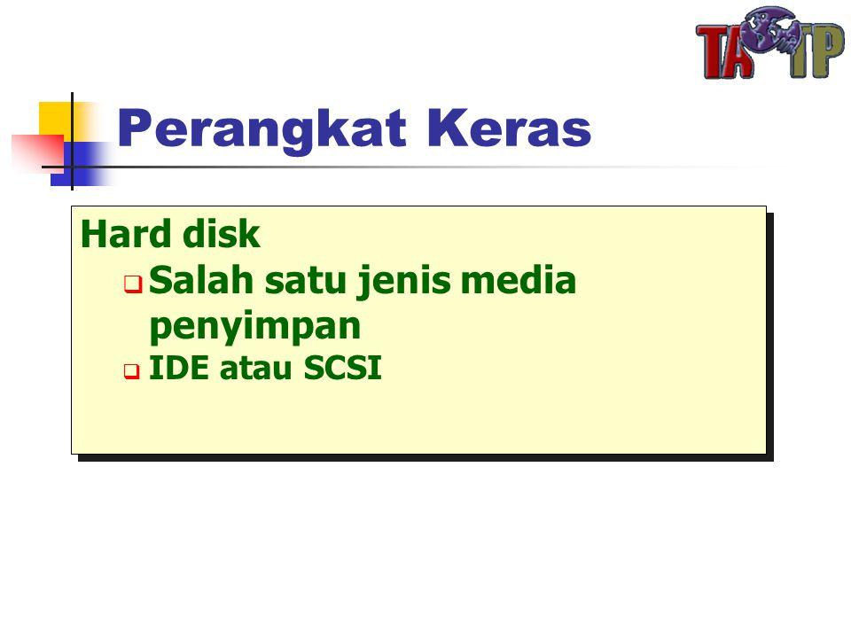 Perangkat Keras Hard disk  Salah satu jenis media penyimpan  IDE atau SCSI Hard disk  Salah satu jenis media penyimpan  IDE atau SCSI