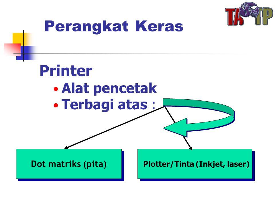 Perangkat Keras Printer • Alat pencetak • Terbagi atas : Dot matriks (pita) Plotter/Tinta (Inkjet, laser)