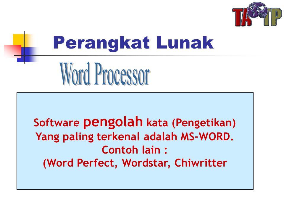 Perangkat Lunak Software pengolah kata (Pengetikan) Yang paling terkenal adalah MS-WORD.