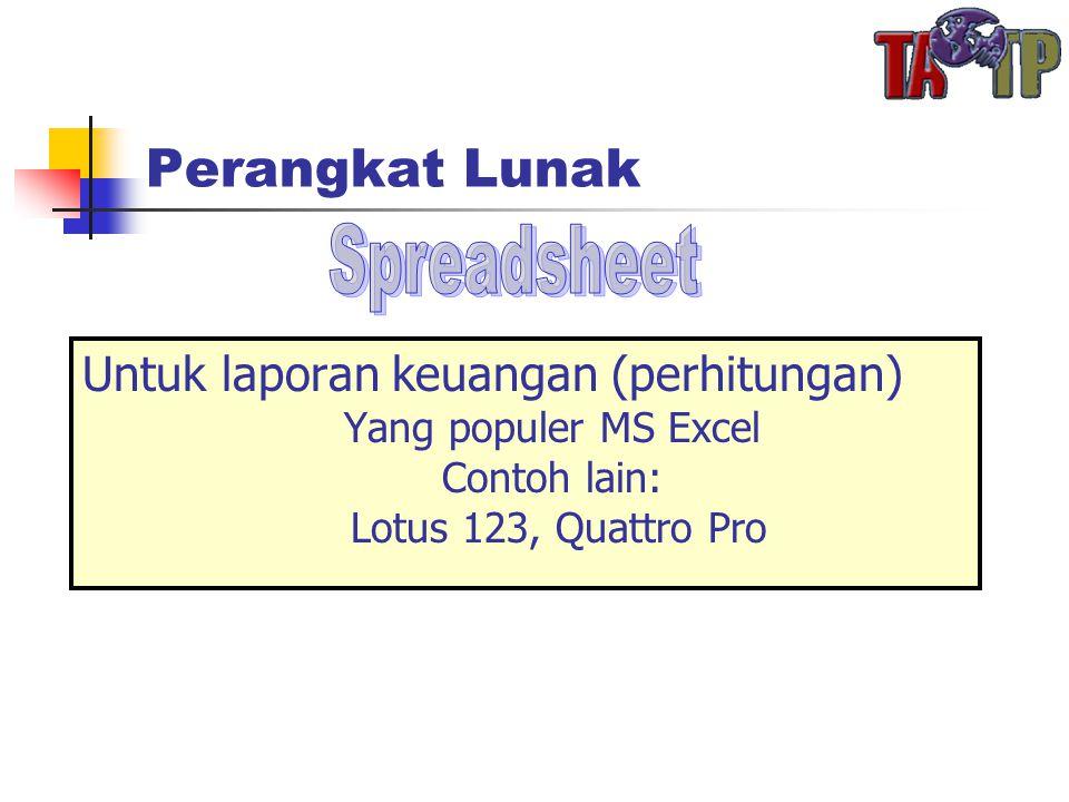 Perangkat Lunak Untuk laporan keuangan (perhitungan) Yang populer MS Excel Contoh lain: Lotus 123, Quattro Pro