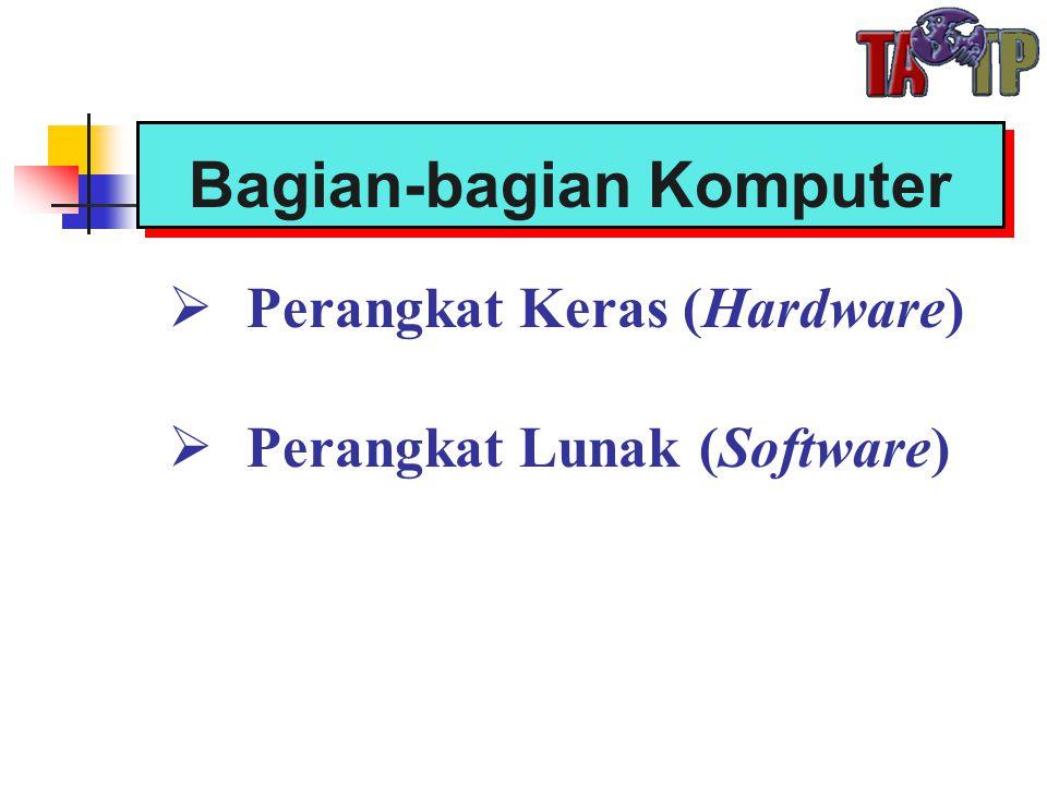 Bagian-bagian Komputer  Perangkat Keras (Hardware)  Perangkat Lunak (Software)