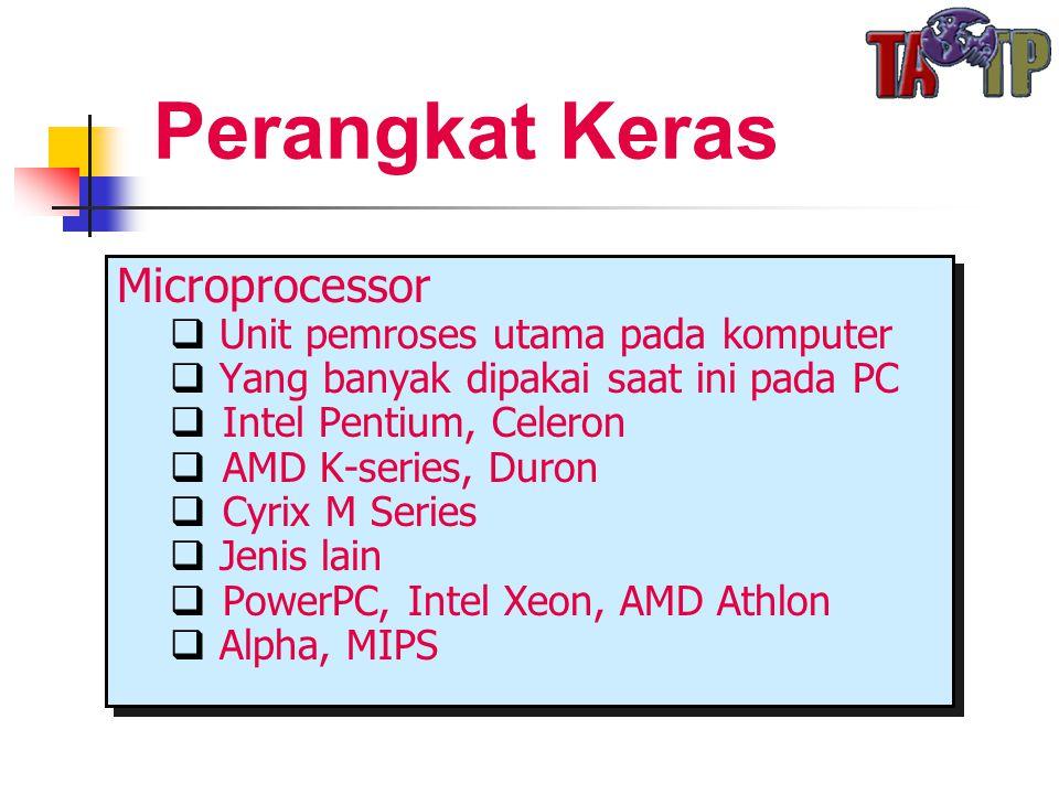 Perangkat Keras Microprocessor  Unit pemroses utama pada komputer  Yang banyak dipakai saat ini pada PC  Intel Pentium, Celeron  AMD K-series, Duron  Cyrix M Series  Jenis lain  PowerPC, Intel Xeon, AMD Athlon  Alpha, MIPS Microprocessor  Unit pemroses utama pada komputer  Yang banyak dipakai saat ini pada PC  Intel Pentium, Celeron  AMD K-series, Duron  Cyrix M Series  Jenis lain  PowerPC, Intel Xeon, AMD Athlon  Alpha, MIPS