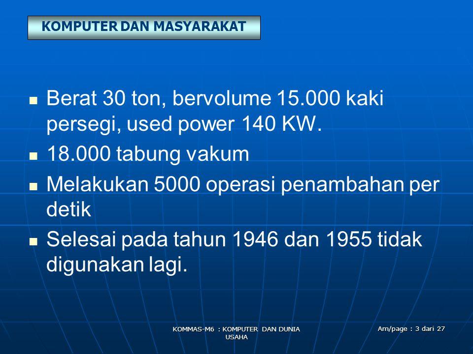 KOMPUTER DAN MASYARAKAT KOMMAS-M6 : KOMPUTER DAN DUNIA USAHA Am/page : 3 dari 27   Berat 30 ton, bervolume 15.000 kaki persegi, used power 140 KW.
