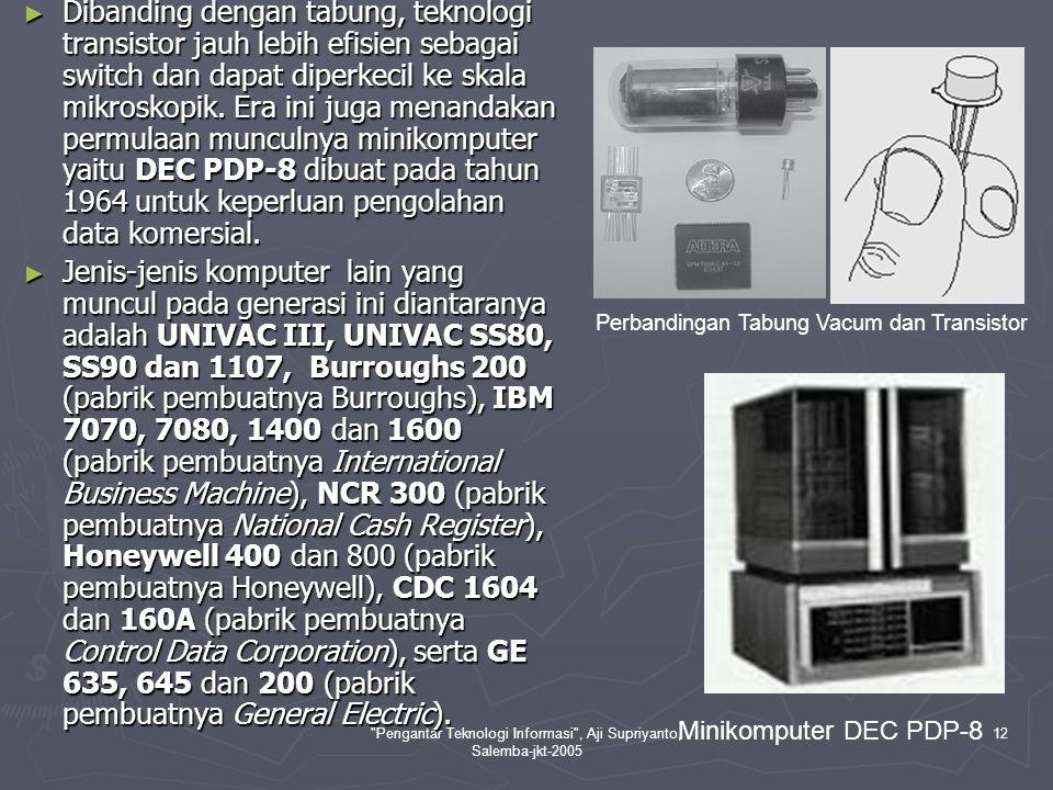 Pengantar Teknologi Informasi , Aji Supriyanto, Salemba-jkt-2005 13 III.