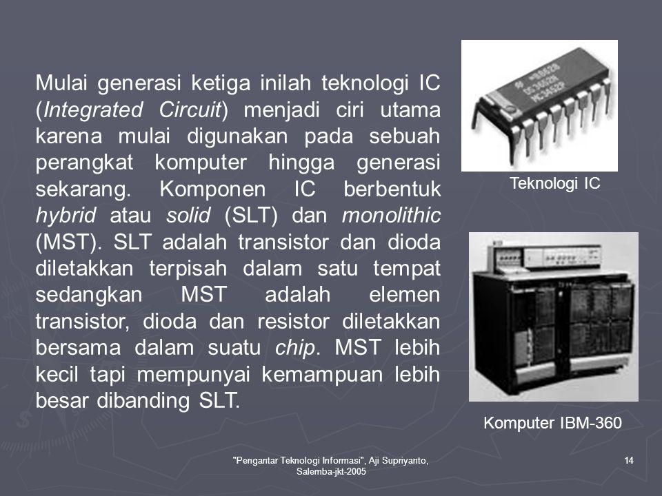 Pengantar Teknologi Informasi , Aji Supriyanto, Salemba-jkt-2005 15 IV.