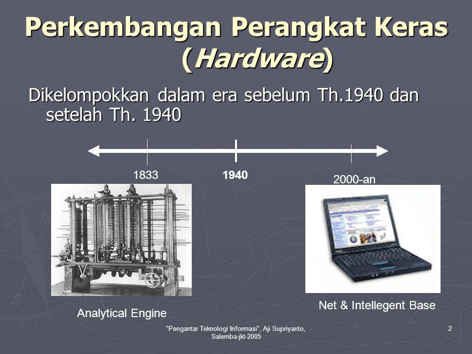 Pengantar Teknologi Informasi , Aji Supriyanto, Salemba-jkt-2005 3 Era Sebelum Th.