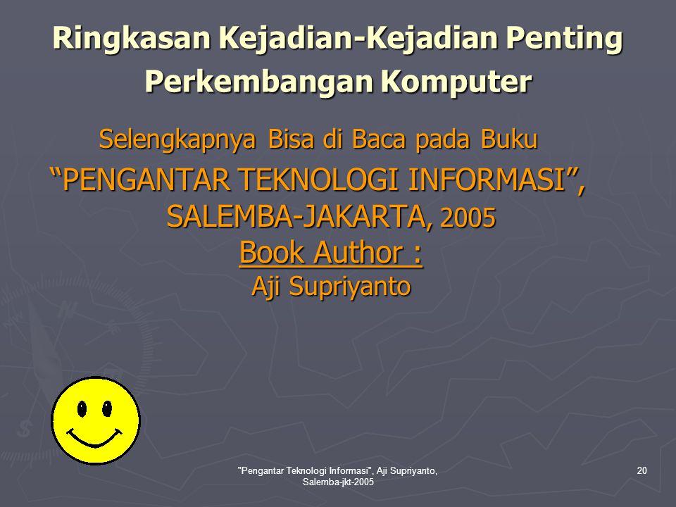 Pengantar Teknologi Informasi , Aji Supriyanto, Salemba-jkt-2005 21 Perkembangan Perangkat Lunak (Software) Konsep Software Perangkat lunak (software) adalah perangkat abstrak yang merupakan bagian utama selain hardware dari sistem komputer.