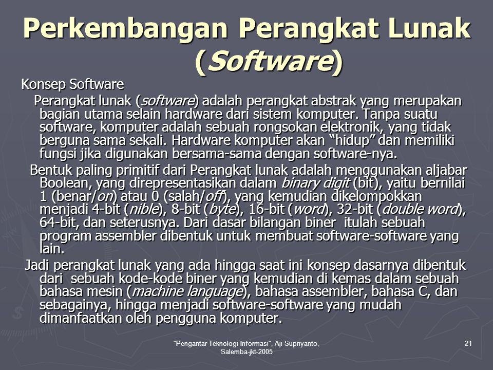 Pengantar Teknologi Informasi , Aji Supriyanto, Salemba-jkt-2005 22 Evolusi Perangkat Lunak Evolusi perangkat lunak secara garis besar dibedakan menjadi era sebelum adanya komputer dan setelah adanya komputer.