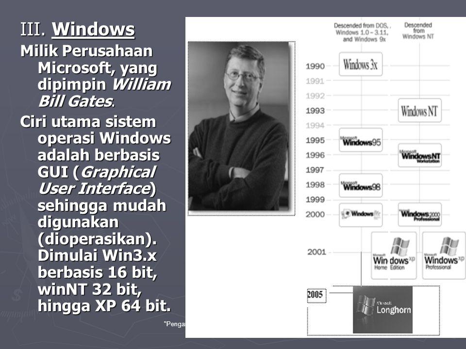 Pengantar Teknologi Informasi , Aji Supriyanto, Salemba-jkt-2005 28 ► Sistem Operasi Lain Sebenarnya masih banyak sistem operasi lain yang ada, namun kurang begitu populer dibanding seperti diatas.