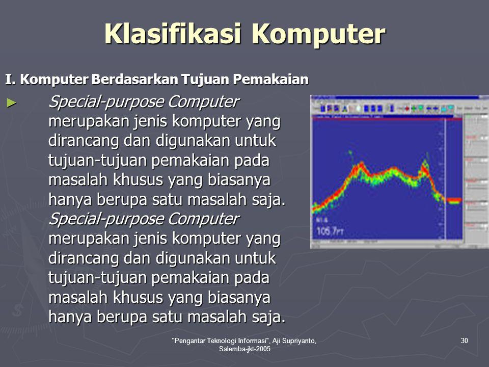Pengantar Teknologi Informasi , Aji Supriyanto, Salemba-jkt-2005 31 ► General-Purpose Computer digunakan untuk menyelesaikan berbagai masalah.