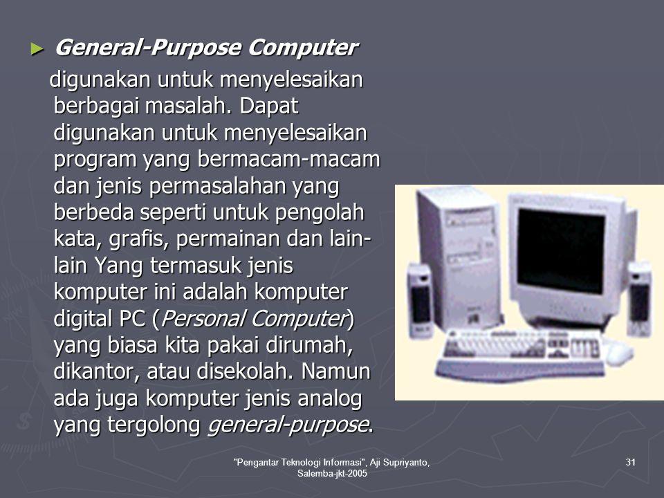 Pengantar Teknologi Informasi , Aji Supriyanto, Salemba-jkt-2005 32 II.