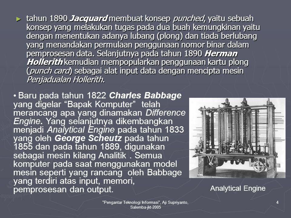 Pengantar Teknologi Informasi , Aji Supriyanto, Salemba-jkt-2005 5 ► Pada tahun 1854, ahli matematik dari Inggris, George Boole telah mencipta satu bidang algebra.