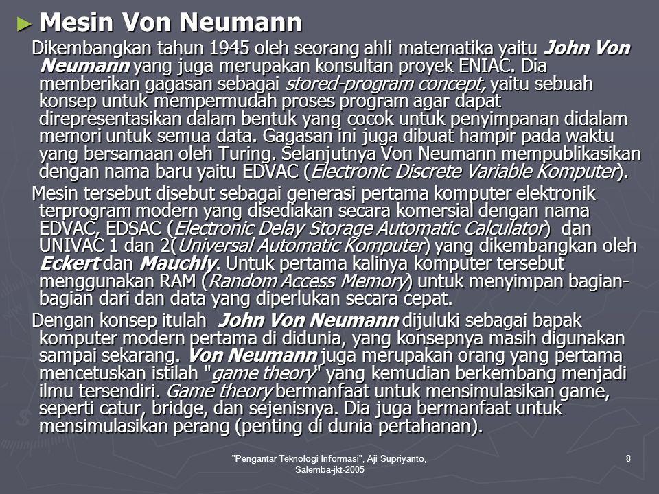 Pengantar Teknologi Informasi , Aji Supriyanto, Salemba-jkt-2005 9 Gambar Desain Arsitektur, mesin dan John Von Neumann (sebagai Mesin Komputer Elektronik Modern pertama)