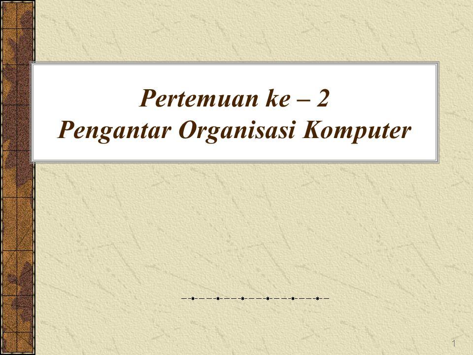 1 Pertemuan ke – 2 Pengantar Organisasi Komputer