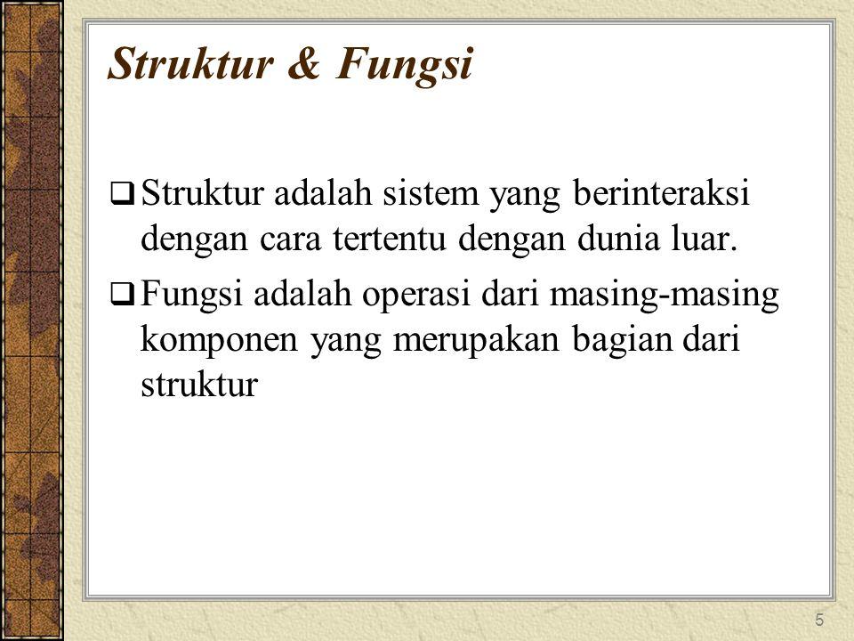 5 Struktur & Fungsi  Struktur adalah sistem yang berinteraksi dengan cara tertentu dengan dunia luar.  Fungsi adalah operasi dari masing-masing komp