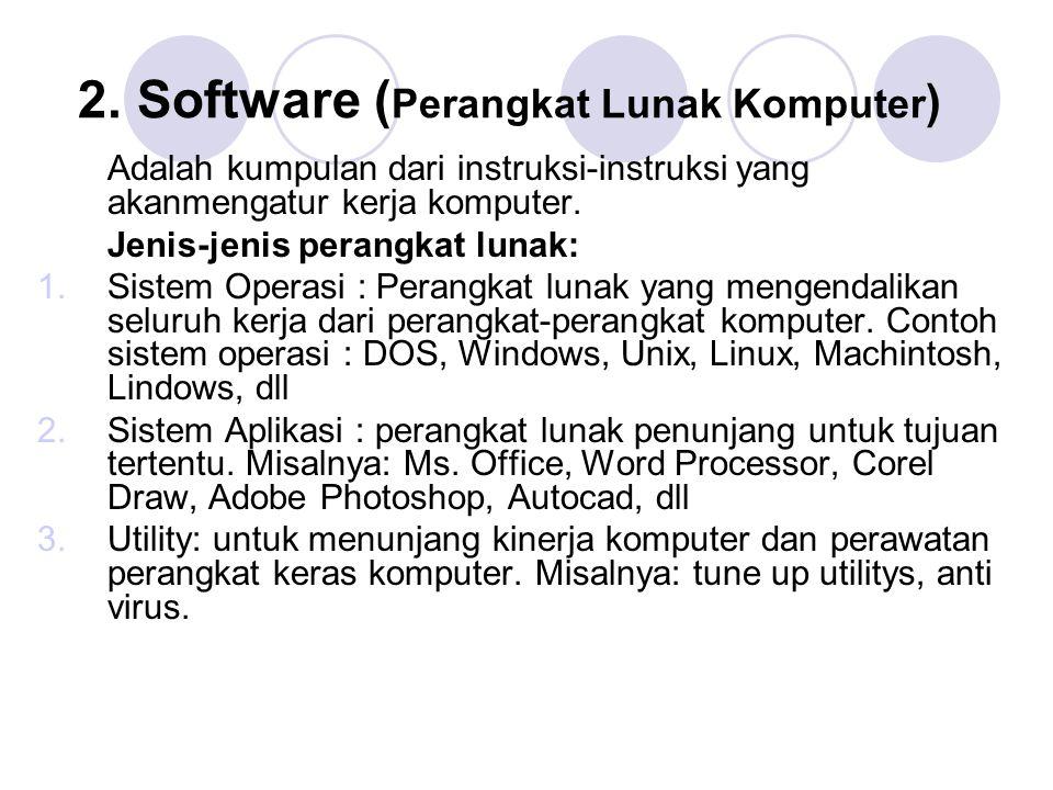 2. Software ( Perangkat Lunak Komputer ) Adalah kumpulan dari instruksi-instruksi yang akanmengatur kerja komputer. Jenis-jenis perangkat lunak: 1.Sis