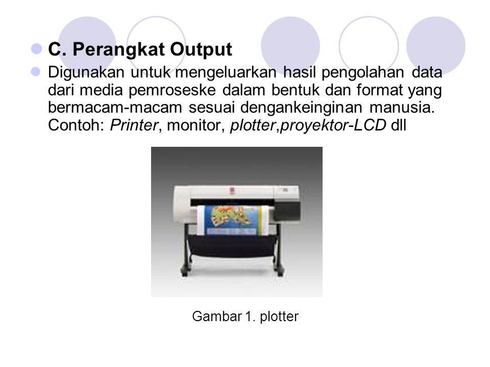  C. Perangkat Output  Digunakan untuk mengeluarkan hasil pengolahan data dari media pemroseske dalam bentuk dan format yang bermacam-macam sesuai de