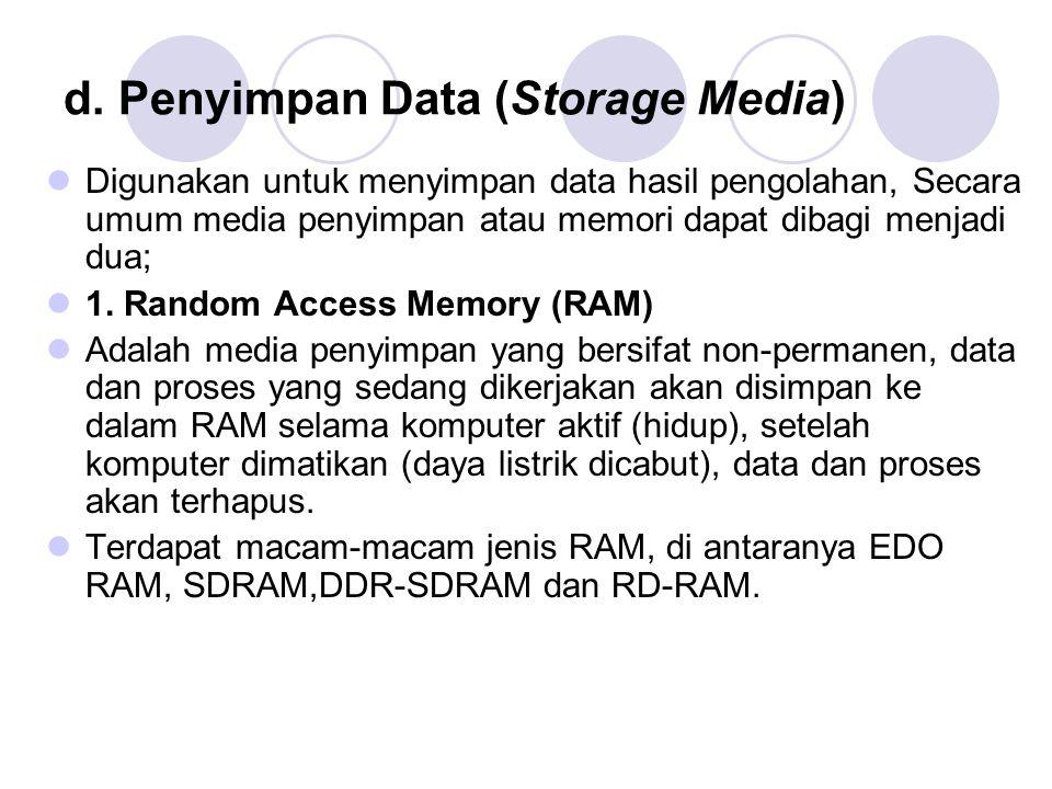 d. Penyimpan Data (Storage Media)  Digunakan untuk menyimpan data hasil pengolahan, Secara umum media penyimpan atau memori dapat dibagi menjadi dua;