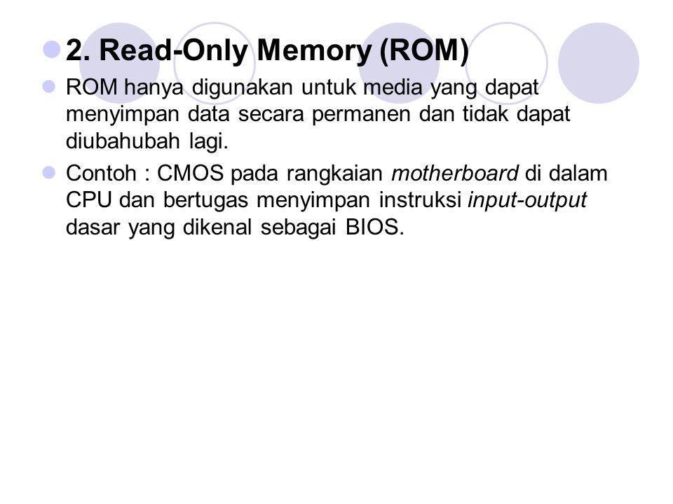  2. Read-Only Memory (ROM)  ROM hanya digunakan untuk media yang dapat menyimpan data secara permanen dan tidak dapat diubahubah lagi.  Contoh : CM