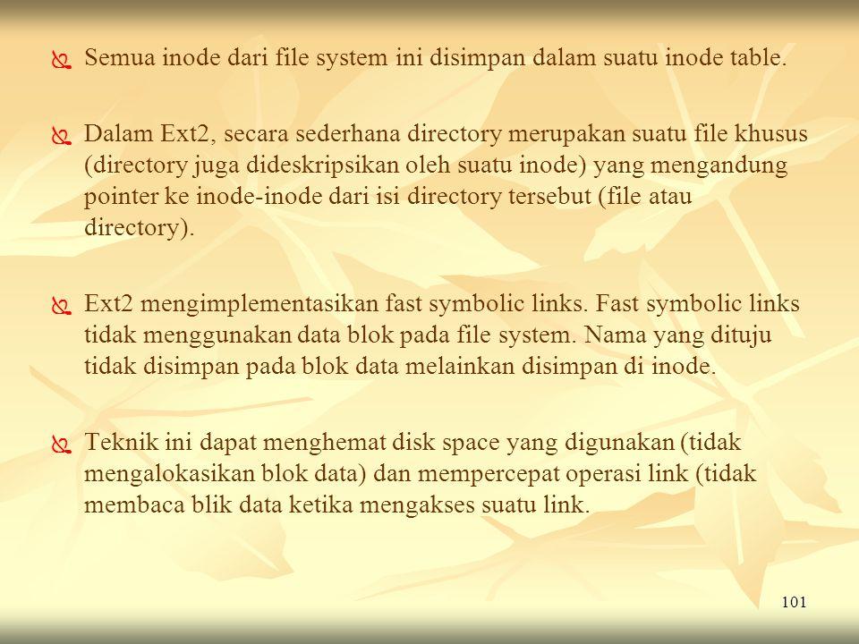 101   Semua inode dari file system ini disimpan dalam suatu inode table.   Dalam Ext2, secara sederhana directory merupakan suatu file khusus (dir