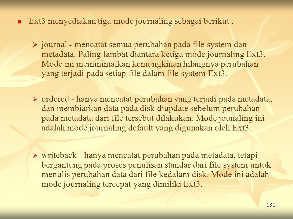 131   Ext3 menyediakan tiga mode journaling sebagai berikut :   journal - mencatat semua perubahan pada file system dan metadata. Paling lambat di