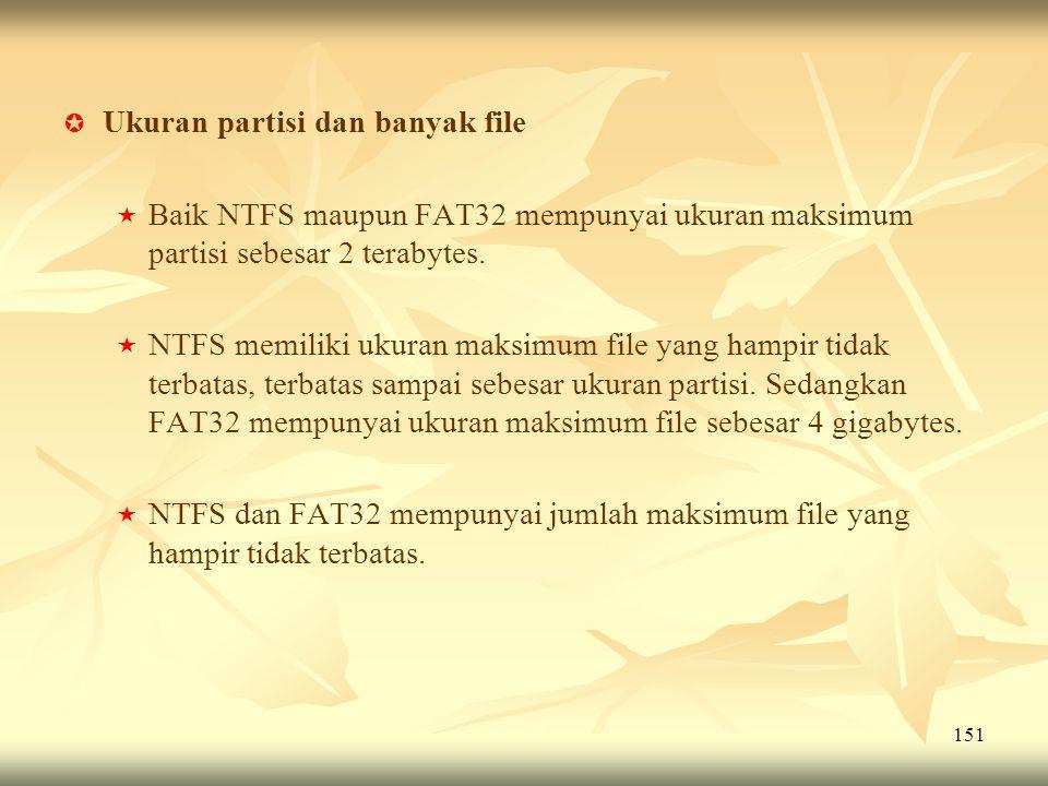 151   Ukuran partisi dan banyak file   Baik NTFS maupun FAT32 mempunyai ukuran maksimum partisi sebesar 2 terabytes.   NTFS memiliki ukuran maks