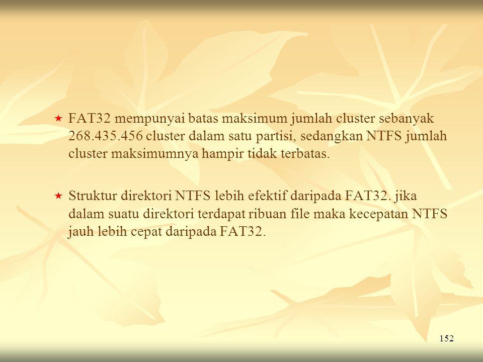 152   FAT32 mempunyai batas maksimum jumlah cluster sebanyak 268.435.456 cluster dalam satu partisi, sedangkan NTFS jumlah cluster maksimumnya hampi