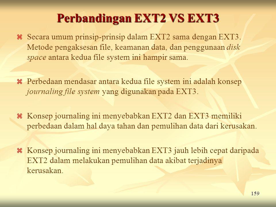 159 Perbandingan EXT2 VS EXT3   Secara umum prinsip-prinsip dalam EXT2 sama dengan EXT3. Metode pengaksesan file, keamanan data, dan penggunaan disk