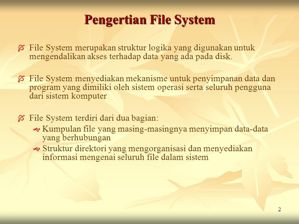 2 Pengertian File System   File System merupakan struktur logika yang digunakan untuk mengendalikan akses terhadap data yang ada pada disk.   File