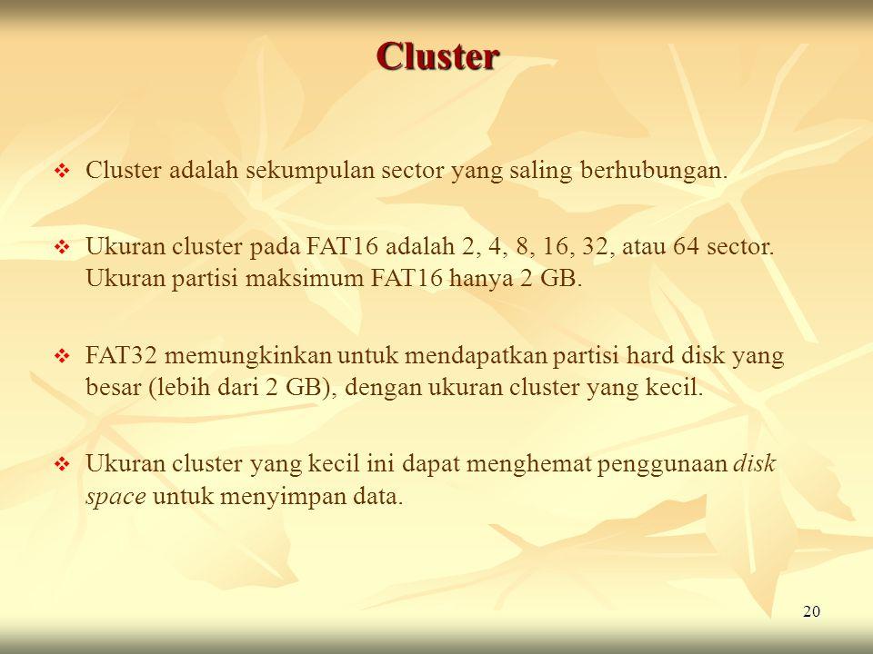 20 Cluster  Cluster adalah sekumpulan sector yang saling berhubungan.  Ukuran cluster pada FAT16 adalah 2, 4, 8, 16, 32, atau 64 sector. Ukuran part