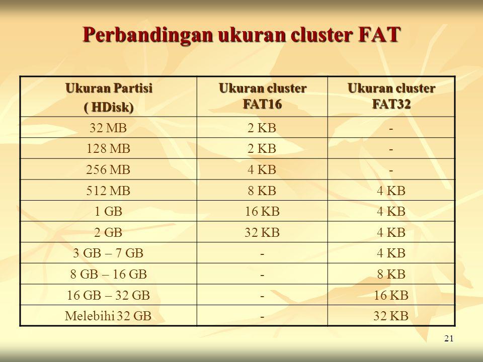 21 Perbandingan ukuran cluster FAT Ukuran Partisi ( HDisk) Ukuran cluster FAT16 Ukuran cluster FAT32 32 MB2 KB- 128 MB2 KB- 256 MB4 KB- 512 MB8 KB4 KB