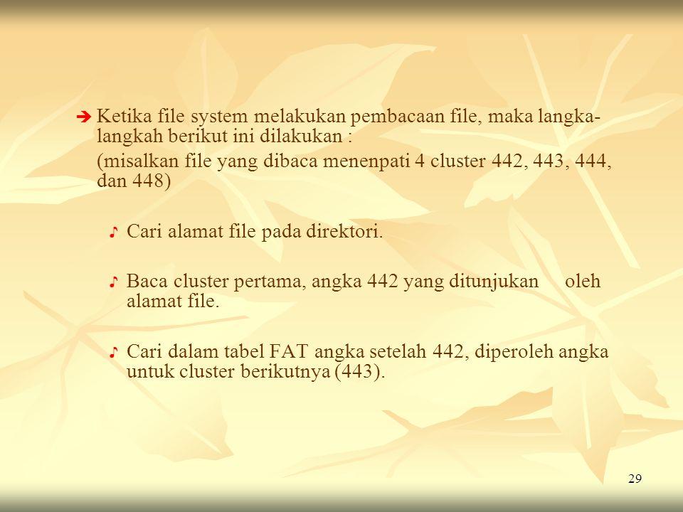 29   Ketika file system melakukan pembacaan file, maka langka- langkah berikut ini dilakukan : (misalkan file yang dibaca menenpati 4 cluster 442, 4