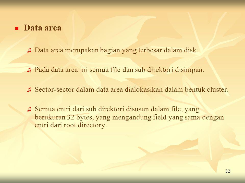 32   Data area ♫ ♫ Data area merupakan bagian yang terbesar dalam disk. ♫ ♫ Pada data area ini semua file dan sub direktori disimpan. ♫ ♫ Sector-sec