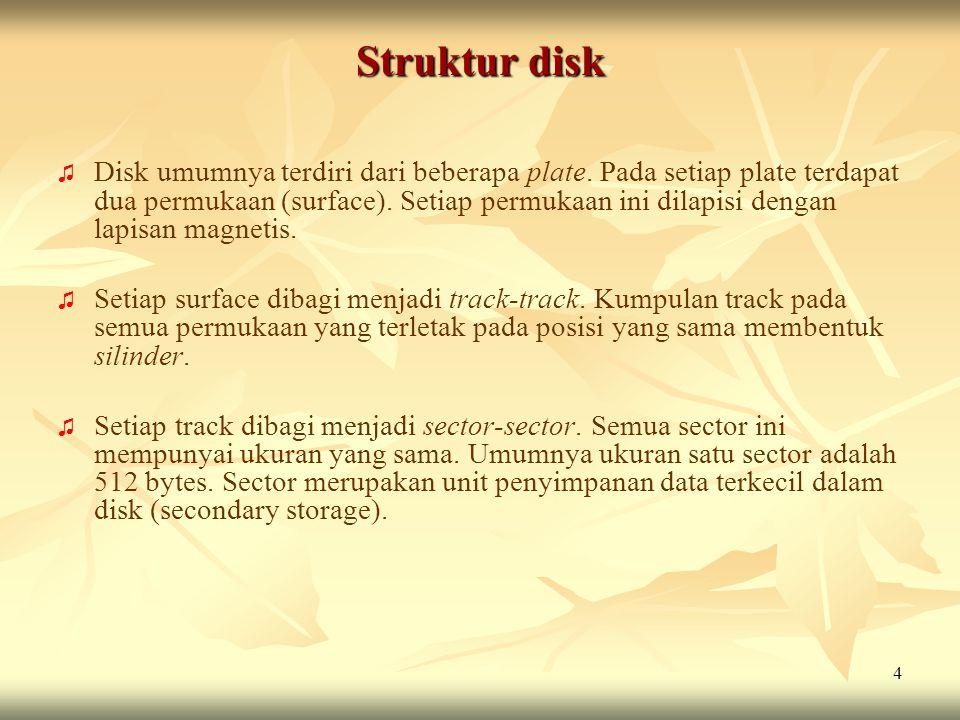 4 Struktur disk ♫ ♫ Disk umumnya terdiri dari beberapa plate. Pada setiap plate terdapat dua permukaan (surface). Setiap permukaan ini dilapisi dengan