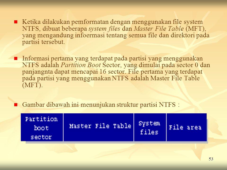53   Ketika dilakukan pemformatan dengan menggunakan file system NTFS, dibuat beberapa system files dan Master File Table (MFT), yang mengandung inf