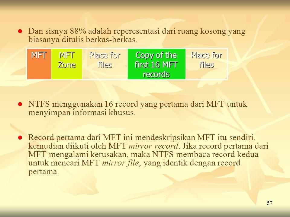 57   Dan sisnya 88% adalah reperesentasi dari ruang kosong yang biasanya ditulis berkas-berkas.   NTFS menggunakan 16 record yang pertama dari MFT