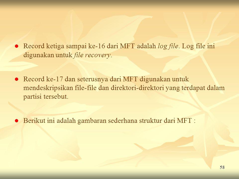 58   Record ketiga sampai ke-16 dari MFT adalah log file. Log file ini digunakan untuk file recovery.   Record ke-17 dan seterusnya dari MFT digun