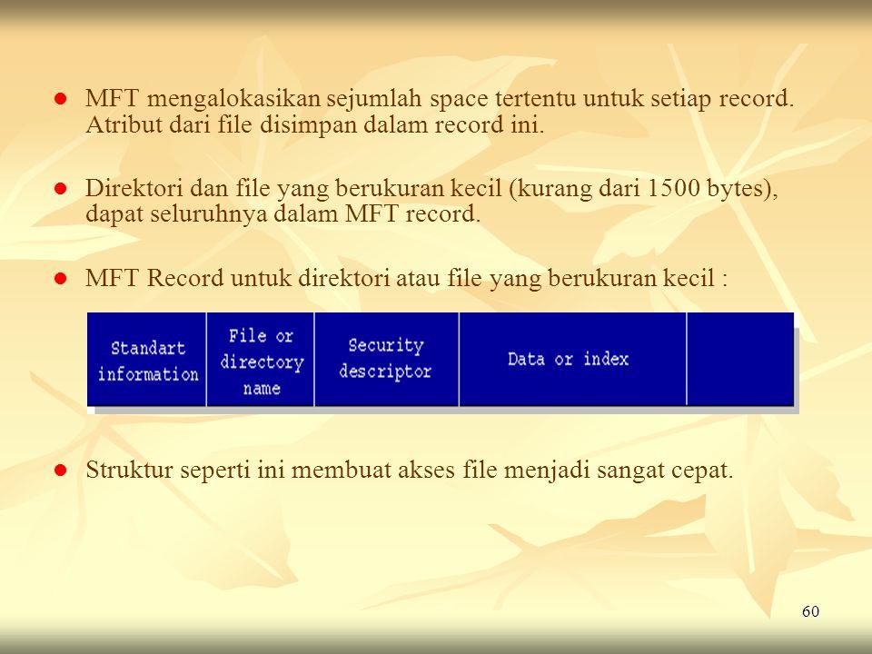 60   MFT mengalokasikan sejumlah space tertentu untuk setiap record. Atribut dari file disimpan dalam record ini.   Direktori dan file yang beruku