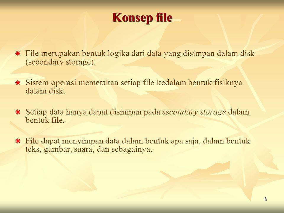 8   File merupakan bentuk logika dari data yang disimpan dalam disk (secondary storage).   Sistem operasi memetakan setiap file kedalam bentuk fis