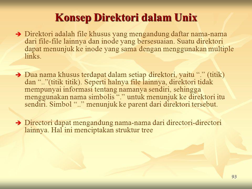 93 Konsep Direktori dalam Unix   Direktori adalah file khusus yang mengandung daftar nama-nama dari file-file lainnya dan inode yang bersesuaian. Su