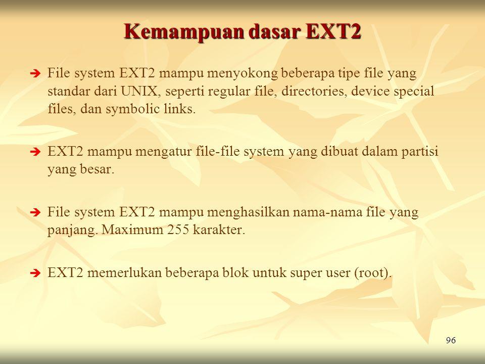 96 Kemampuan dasar EXT2   File system EXT2 mampu menyokong beberapa tipe file yang standar dari UNIX, seperti regular file, directories, device spec